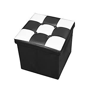 Amazon Com Rusee Collapsible 15 Quot Cube Faux Leather