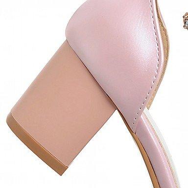 LvYuan Mujer Sandalias Semicuero PU Verano Otoño Paseo Perla de Imitación Tacón Robusto Blanco Negro Rosa 2'5 - 4'5 cms blushing pink