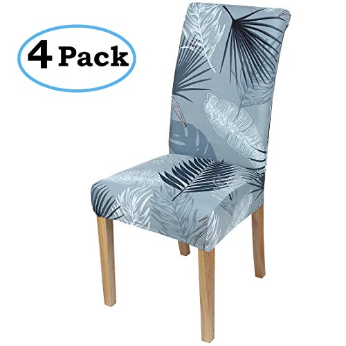 misaya Stretch Dining Room Chair Cover Spandex Removable Washable Leaves Printing Chair Slipcover for Kitchen, Set of 4, Style 4
