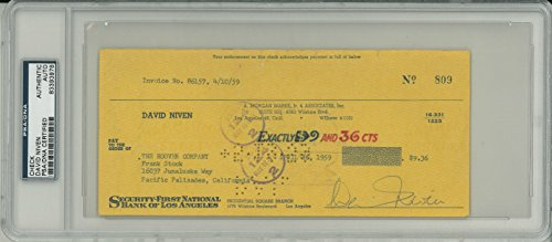 David Niven Signed Authentic Autographed Check Slabbed PSA/DNA #83393978