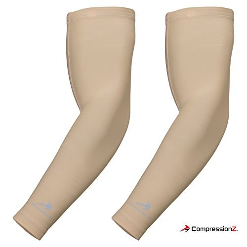 CompressionZ Arm Sleeves - Real Sports Compression for Baseball, Basketball, Football, Cycling, Golf, Arthritis, Lymphedema, UV Protection Men/Women