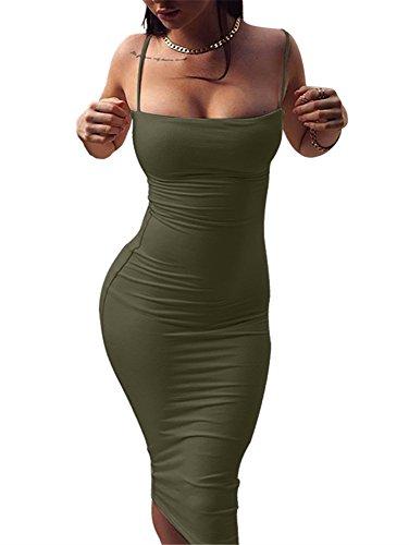 GOBLES Women's Sexy Spaghetti Strap Sleeveless Bodycon Midi Club Dress Olive