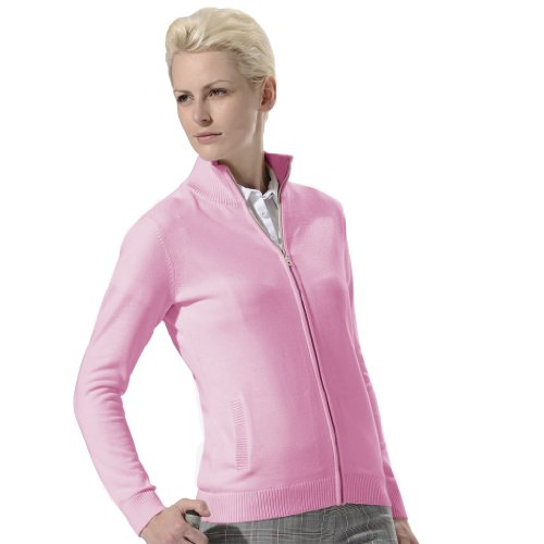 (Monterey Club Ladies 12 Gauge Solid Cotton Blended Zip up Sweater #6124 (Cotton Candy, Medium))