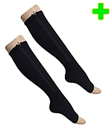 HealthyNees 2 Pairs Combo Zipper Compression Medical Grade Leg Calf Relief Swelling Circulation Support Socks (L/XL)