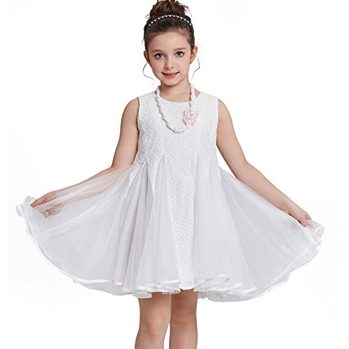 Smapavic Girls Tulle Dress Sleeveless Flower Lace Princess Dress First Communion Dress (Pretty First Communion Dresses)