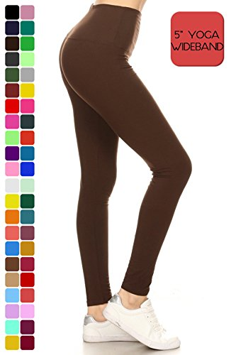 "Yoga 5"" Wideband Solid Leggings Brown (LY5X128-BROWN)"
