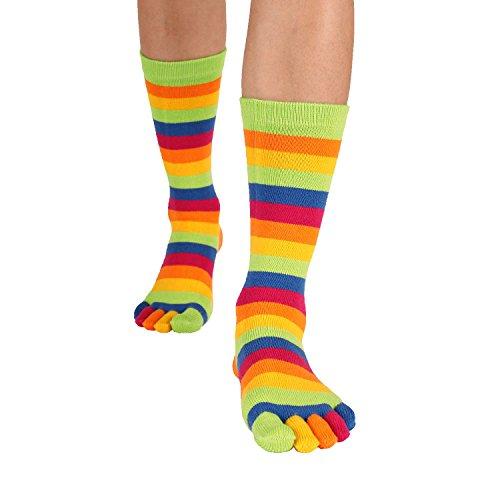 TOETOE - ESSENTIAL - High-Crew Stripy Toe Socks (M 4.5-11.5 / F 6-13) Striped Green AxKELe