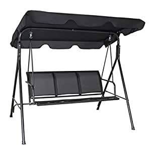 Black Patio Swing Canopy 3 Person Seat