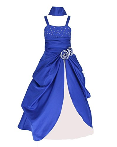 Sleeveless Satin Pageant Party Occasion Flower Girl Dress Royal Blue & White 10 Years (RB6008-10#)