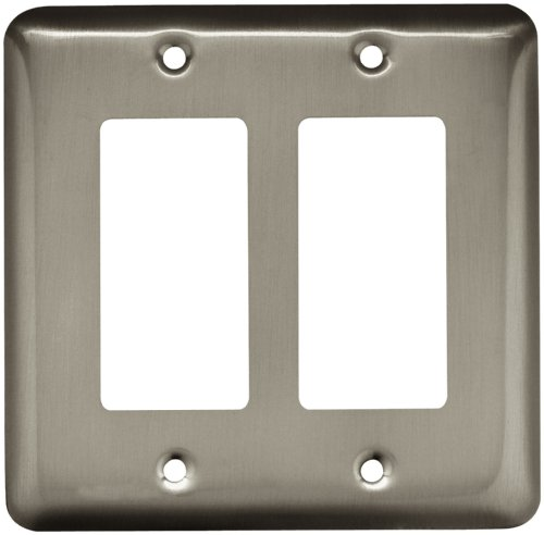 Brainerd 64083 Stamped Steel Round Double Decorator Wall Plate, 1 per ()