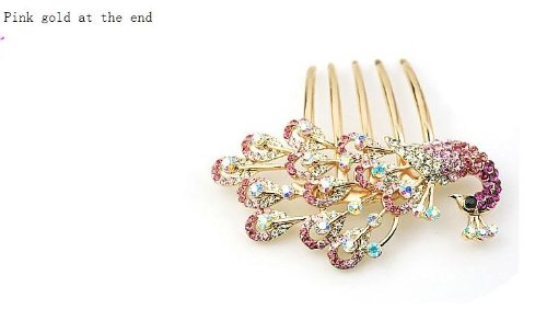 Good Jewelry Decorated Korean Headdress Hair Accessories Fashion Beautiful Diamond Elegant Peacock Plug Comb Comb