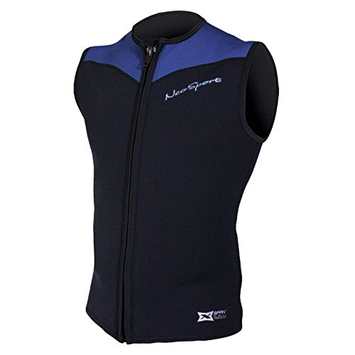 NeoSport Men's 2.5-mm XSPAN Vest (Black with Blue Trim, Small) - Water Sports, Diving & - Sleeveless Mens Wetsuit