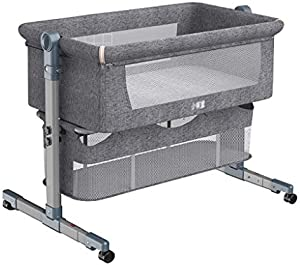 VAIY Bassinet for Baby Easy Folding Portable Bedside Cribs for Infant with Mattress, 5 Height Adjustable Baby Cot (Color : Gray, Size : with Travel bagm)