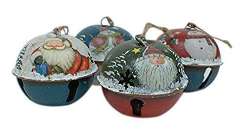 Metal Christmas Ringing in the Holidays Jingle Bell Santa & Snowman Ornaments Set of 4 Jingle Bell Ornament Collection