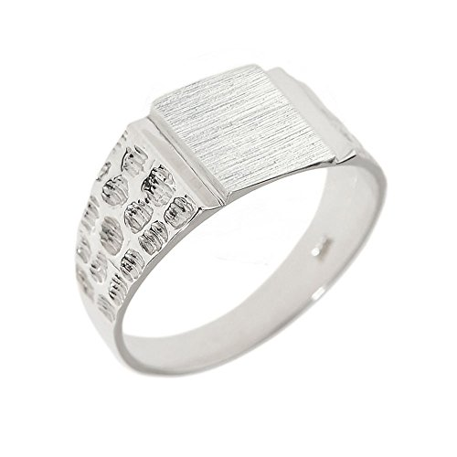 Men's High Polish 10k White Gold Engravable Square Top Nugget Band Signet Ring (Size 7)