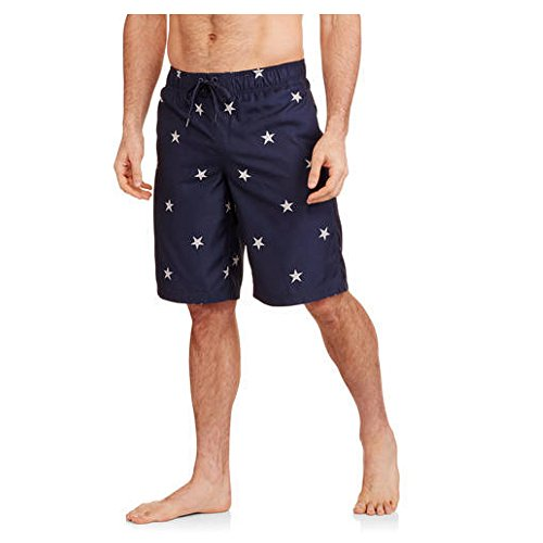 Faded Glory Embroidered Shorts (Faded Glory Mens Embroidered Stars Swim Trunks (Medium / 32-34))