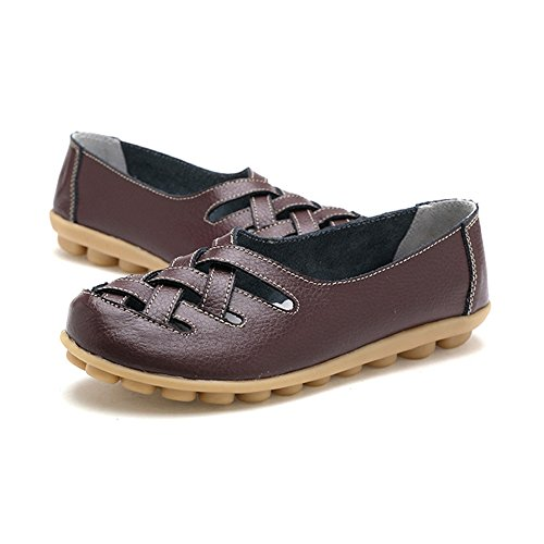 Damesschoenen In T-juli-dames - Geperforeerde Slip Op Antislip Casual Moccasinekleur In Platte Koffie