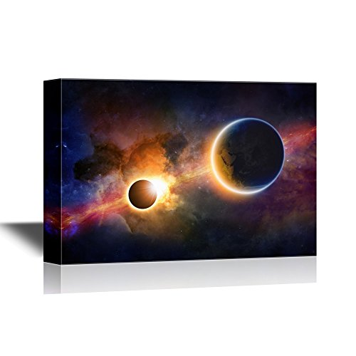 wall26 - Astronomy Canvas Wall Art - Glowing Planet Earth in Space, Solar Eclipse, Nebula and Stars - Gallery Wrap Modern Home Decor | Ready to Hang - 24x36 inches -