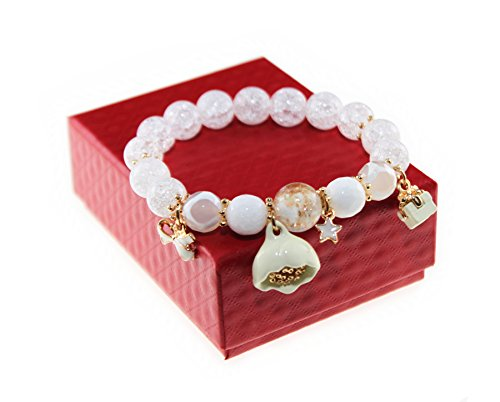 Ice Crack Korean Style Crystal & Colored Glaze Charm Bracelet with Lotus Pendant (White)
