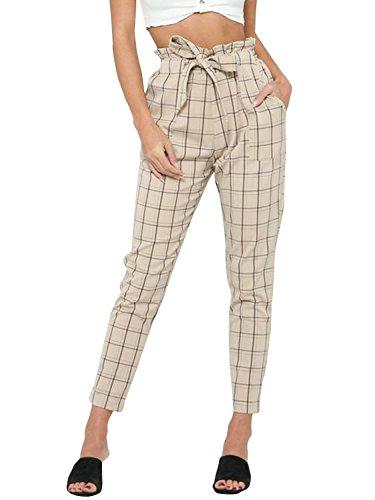 BerryGo Womens Casual Loose High Waist Stretchy Skinny Slim Long Pants