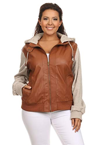 Ambiance Apparel Women's Junior Plus Size Hooded Faux Leather Zip Up Long Sleeve Bomber Jacket (1XL, Camel)