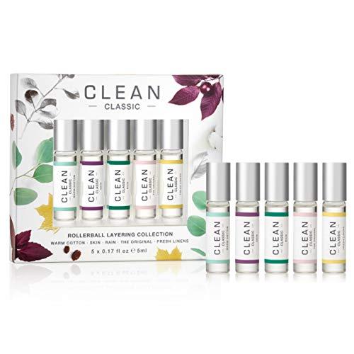 CLEAN CLASSIC Bestselling Eau de Parfum Gift Set Collection Includes Warm Cotton, Skin, Rain, The Original and Fresh Linens Scents 5 x 0.16 oz. or 5 mL