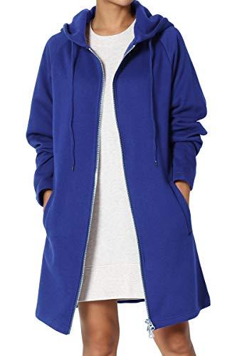 TheMogan Women's Hoodie Oversized Zip Up Long Fleece Sweat Jacket Denim Blue L/XL