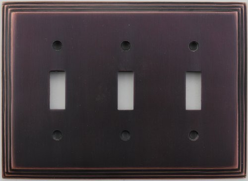 Classic Accents Deco Antique Copper Three Gang Toggle Light Switch Wall Plate