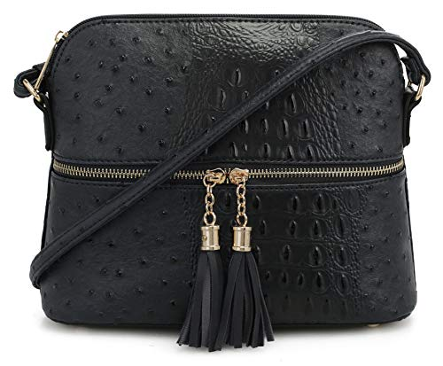 Tassel Crocodile - SG SUGU Crocodile Pattern Lightweight Medium Dome Crossbody Bag with Tassel | Black