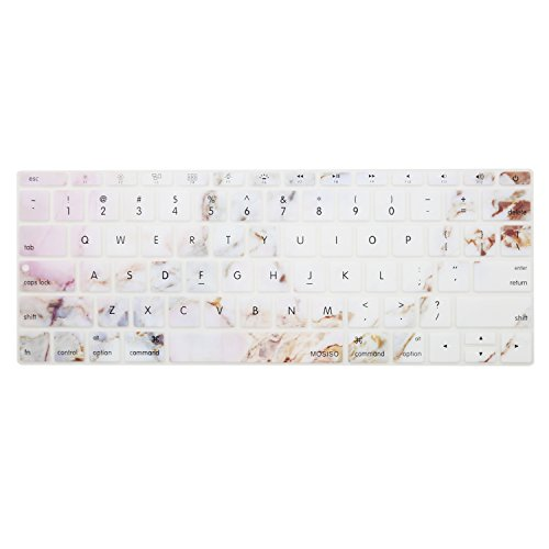 MOSISO Silicone Keyboard Cover Compatible MacBook Pro 13 Inch 2017 & 2016 Release A1708 Without Touch Bar, MacBook 12 Inch A1534 Protective Skin, Colorful Marble