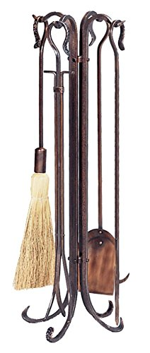 4 Piece Copper Hammered Crook Fire Tool Set With Stand by Uniflame