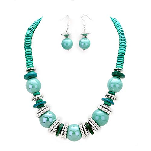 Uniklook Statement POP Color Chunky Mixed Wood Disc and Beads Fashion Necklace Earrings Costume Jewelry Set (Turquoise)