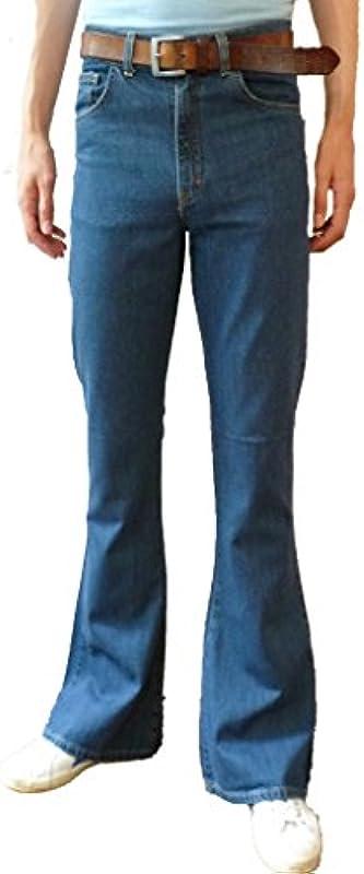 Męskie wysokie spodnie z biustonoszami wyeksponowane dżinsy bielizna kamienna denim retro vintage hippie: Odzież