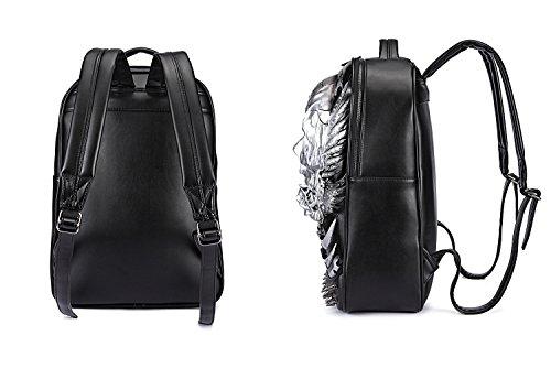 Egoelife PU Leather 3D Skull Backpack Multipurpose Hiking Daypack School Laptop Bag (Gold) by Egoelife (Image #3)