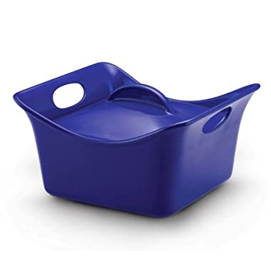 Rachael Ray Stoneware 3.5-Quart Covered Square Cassersquare Casserole, Blue