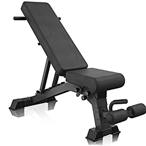 YouTen 2020 New Version Adjustable 9 Positions Incline Decline Sit Up Bench Improved Cushion for Exercise, Handles for Dragon Flag, Rated Full Body Workout Foldable Bench for Dragon Flag