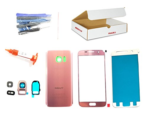 (md0410) Pink Rose Gold front outer glass lens, back cover, camera lens flash cover Compatible Galaxy S7 G930 replacement - adhesive, opening tool (LCD screen & digitizer not included) (Galaxy S3 Screen Replacement Blue)