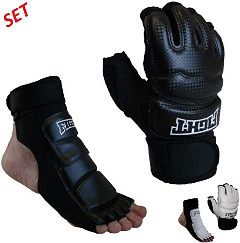 Sparring Set MMA Gloves Hand Foot Protector Taekwondo Sparring Gear for Martial Arts Punch Bag Kickboxing Foot Guards Karate Training Boxing Gloves Foot Gear for Men Women Kids XS-XL (Medium, Black)
