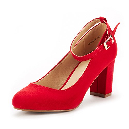(DREAM PAIRS Women's Demilee Red Suede High Chunky Heel Pump Shoes Size 7.5 B(M) US )