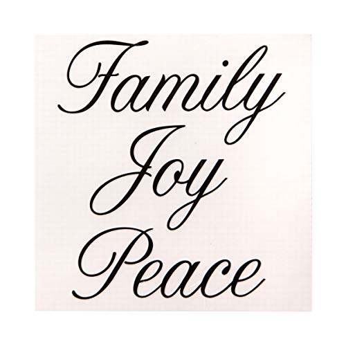 Darice Decorative Word Decals: Matte Black Script Family, Joy, Peace Stickers -