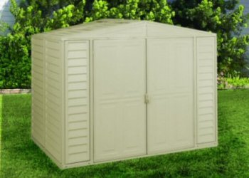 Duramate Vinyl - Duramax Model 00114 8x6 DuraMate Vinyl Storage Shed with foundation