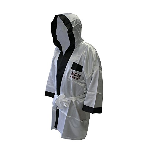 Amber Fight Gear Full Length Satin Boxing Robe White with Black Trim (Small) (Robe Boxing Full Length)