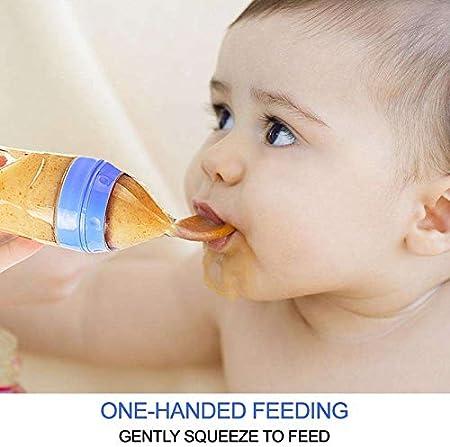 Nrpfell Cuchara Dispensadora de Alimentos para BebéS de Silicona de 2 Piezas (120 Ml, perfecto para BebéS de 4 Meses) - Exprimidor con Cuchara- BiberóN de Cuchara de Bebé Alimentador