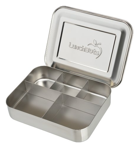 LunchBots Large Cinco Stainless Steel Lunch Container - Five Section Design Holds a Variety of Foods - Metal Bento Box for Kids or Adults - Dishwasher Safe - Stainless Lid -
