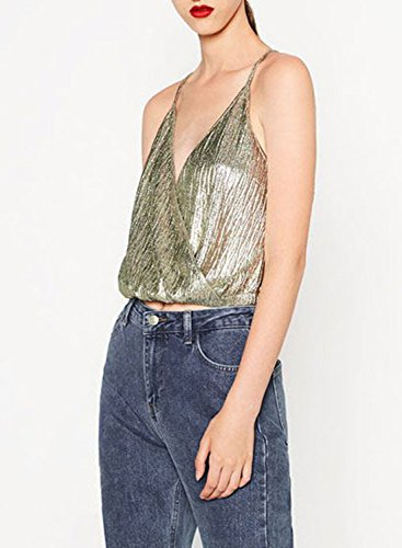 Green Neck Strap Women's Crop Spaghetti Light Achicgirl Club V Top xzg4SIIwq