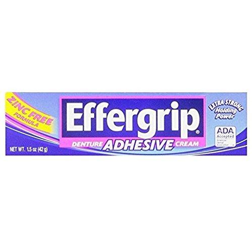 Effergrip extra strong denture adhesive cream, zinc free formula, 1.5 Oz by (Effergrip Cream)