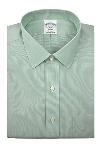 Brooks Brothers Men's Regent Fit Mini Striped Non Iron Dress Shirt Green White (17.5