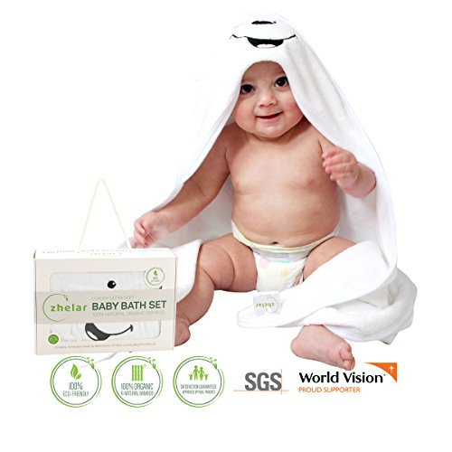 Ultra Soft Baby Hooded Towel & Washcloth Set; for Newborns, Babies, Infants, Toddlers, Kids; Natural Organic Bamboo; Perfect Baby Registry & Shower Gift; Bonus Laundry Bag; White + Blue