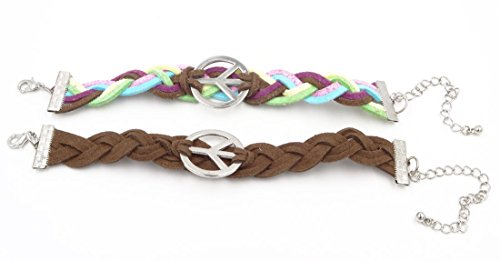 Set of 2 New Suede Peace Sign Bracelets Multi-Colored & Brown #B1191-B1213 (Peace Sign Suede Bracelet)