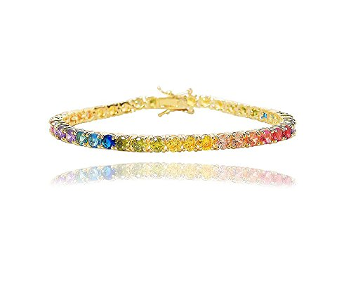 NYC Sterling Women's 4MM Round Rainbow Cubic Zirconia Tennis Bracelet, 7.25 Inches (Yellow)